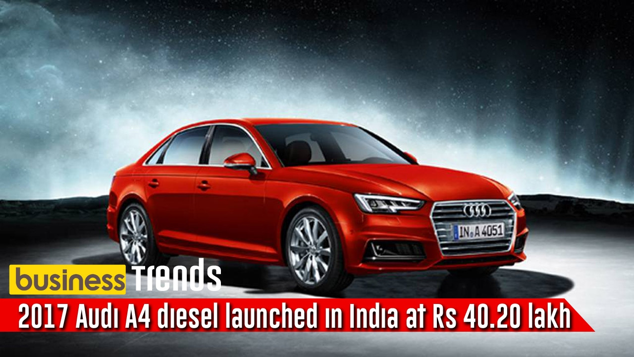 2017 audi a4 diesel launched in india at rs lakh. Black Bedroom Furniture Sets. Home Design Ideas
